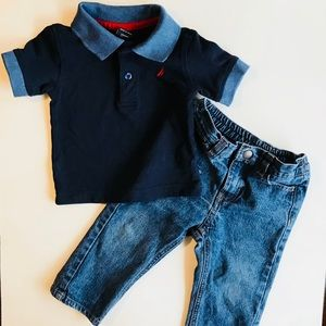 Náutica Polo short Sleeves Shirt and Jeans set